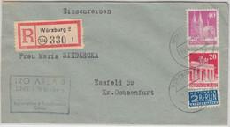 Bizone - Würzburg 2 1950 Einschreibebrief IRO Area3 N. Essfeld/Ochsenfurt - American/British Zone