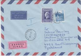 Norway - 5 Kr. King Olaf V. Etc. Express Airmail Fagernes - Bad Lippspringe 1977 - Postwaardestukken