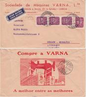 Portugal - 3x1 E.+50 C. Luftpostbrief Lissabon Berlin 1951 Illustr. Firmenbrief - Postwaardestukken