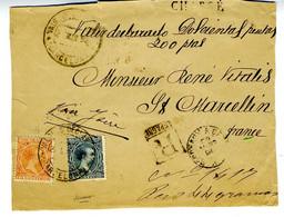 España 1890 Frontal VALORAS DECLARADOS BARCELONA  75c Y 25c   Hasta Francia EL791 - Cartas