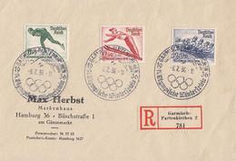 DR R-Brief Mif Minr.600-602 SST Garmisch-Partenkirchen 6.2.36 - Briefe U. Dokumente