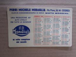 #  CALENDARIETTO PLASTIFICATO PERRI MICHELE MIRAGLIA / MOTO MONDIAL CONC. COSENZA / 1960 - Small : 1941-60