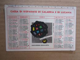 #  CALENDARIETTO PLASTIFICATO CASSA DI RISPARMIO DI CALABRIA E LUCANIA / 1960 - Small : 1941-60