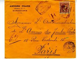 España 1894 Carta Certificada CAMBIO BARCELONA 50c Pelon  Hasta Paris  EL792 - Cartas