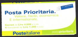 Italia 2001; Libretto: Posta Prioritaria Fondo Giallo Lire 1200=€0,62 - Roma 2001, Con Etichetta - Booklets