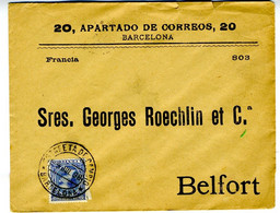 España 1898 Carta  5c Pelon Impresos Matasello ESTAFETA DE CAMBIO BARCELONA  Hasta BELFORT EL795 - Cartas