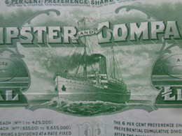 ANGLETERRE - 1924 - ELDER DEMPSTER & COMPANY - TITRE DE 180 ACTIONS DE 1 £ - Unclassified