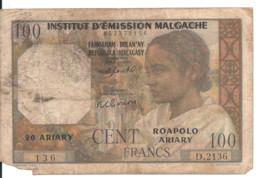 MADAGASCAR 100 FRANCS ND1950-51 VG P 46 - Madagascar