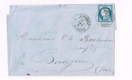 """Lettre De Grenoble à Lyon. """"Marseille à Lyon"""" - 1871-1875 Ceres"""