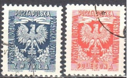 Poland 1954 - Official Stamps - Mi.27-28 - Used - Oficiales