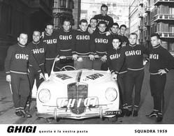 PHOTO REENFORCÉE, GRANDE QUALITE, GROUPE TEAM GHIGI 1959 FORMAT 16,5 X 21 - Ciclismo