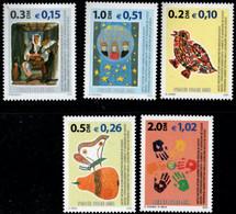 Kosovo 2001 5 Values MNH 2104.0526 Street Musician, Bird, Butterfly On Peach, Hand Prints - Kosovo