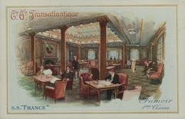 """Cie Gle TRANSATLANTIQUE - S.S. """"FRANCE """" - Fumoir 1ères Classes - Dampfer"""