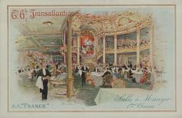 """Cie Gle TRANSATLANTIQUE - S.S. """"FRANCE """" - Salle à Manger 1ères Classes - Dampfer"""