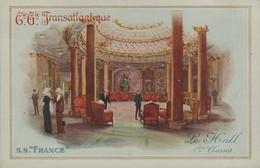"""Cie Gle TRANSATLANTIQUE - S.S. """"FRANCE """" - Le Hall 1ères Classes - Dampfer"""