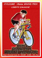 PIN'S CYCLISME Peu Courant : Version Email Cloisonné Base Or, MAILLOT ROUGE 1eme GRAND PRIX LIBERTE DIMANCHE 2X1,7cm - Ciclismo