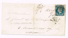 Lettre De Paris à Mareuil-sur-Ay (Marne) - 1853-1860 Napoleon III