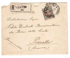 WQ145   LENTINI 1923 Lettera Raccomandata Per POZZALLO, Floreale Lire 1 - Isolato - Poststempel