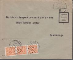 1960. DANMARK. Postage Due. Porto. 3 Ex 10 øre PORTO On Cover From RIBE 4.6.60 And Ca... (Michel Porto 28) - JF417087 - Postage Due