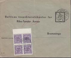 1957. DANMARK. Postage Due. Porto. 4 Ex 15 øre PORTO On Cover From NØRRE NEBEL 8.11.5... (Michel Porto 35) - JF417090 - Postage Due