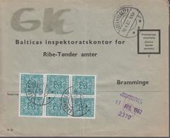 1962. DANMARK. Postage Due. Porto. 6 Ex 25 øre PORTO On Cover From LØGUMKLOSTER 10.4.... (Michel Porto 30) - JF417091 - Postage Due