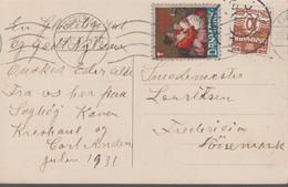 1931. DANMARK. Star Cancel SNOGHØJ On Postcard With JULEN 1931 + Cancel FREDERICIA 23... (Michel 184) - JF417105 - Otros