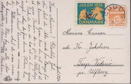 1936. DANMARK. Star Cancel GUDUM On Card With JULEN 1936. (Michel 201) - JF417111 - Otros