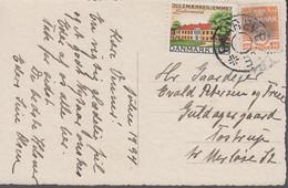 1934. DANMARK. Star Cancel FAAREVEJLE On Card With JULEN 1934. (Michel 201) - JF417112 - Otros
