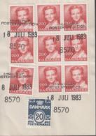 1983. DANMARK. Postage Due. Porto. 20 ØRE + 9 EX 2 Kr Normal Stamps On Debetseddel (1... (Michel 754+) - JF417155 - Postage Due