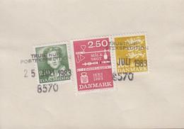 1983. DANMARK. Postage Due. Porto. 2,20 + 2,50 + 10 Kr Normal Stamps On Debetseddel (... (Michel 776+) - JF417161 - Postage Due