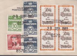 1983. DANMARK. Postage Due. Porto. 10 + 3 EX 20 ØRE + 2 + 4 EX 5 Kr Normal Stamps On ... (Michel 784+) - JF417163 - Postage Due