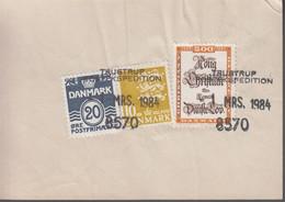 1984. DANMARK. Postage Due. Porto.  20 ØRE + 10 + 5 Kr Normal Stamps On Debetseddel (... (Michel 784+) - JF417164 - Postage Due