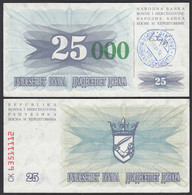 BOSNIEN - BOSNIA  25.000 Dinara 15.10.1993 XF (2) Pick 54a (24345 - Bosnia Y Herzegovina