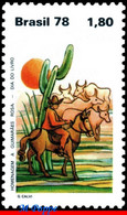 Ref. BR-1588 BRAZIL 1978 ANIMALS, FAUNA, BOOKS DAY,GUIMARAES ROSA,, CACTUS, HORSES, CATTLE,MI# 1682,MNH 1V Sc# 1588 - Ungebraucht