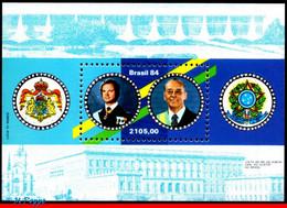 Ref. BR-1904 BRAZIL 1984 POLITICIANS, VISIT OF KING CARL XVI, GUSTAF OF SWEDEN, COAT OF ARMS, S/S MNH 2V Sc# 1904 - Nuevos