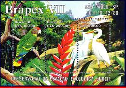 Ref. BR-2158 BRAZIL 1988 ANIMALS, FAUNA, ECOLOGICAL PRESERVATION,, BIRDS,FLOWERS,PARROT,BRAPEX,MI#B76,MNH 3V Sc# 2158 - Parrots