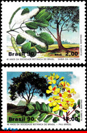 Ref. BR-2229-30 BRAZIL 1990 FLOWERS, PLANTS, BOTANICAL SOCIETY, TREE,, MI# 2340-41, SET MNH 2V Sc# 2229-2230 - Nuevos