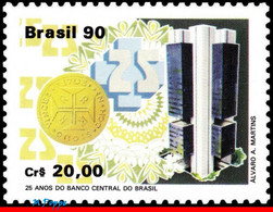 Ref. BR-2241 BRAZIL 1990 BANK + INSURANCE, CENTRAL BANK, 25TH ANNIV., , COINS, MI# 2350, MNH 1V Sc# 2241 - Nuevos