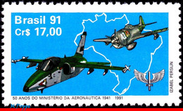 Ref. BR-2300 BRAZIL 1991 PLANES, AVIATION, MINISTRY OF AVIATION,, MI# 2398, MNH 1V Sc# 2300 - Nuevos