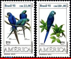 Ref. BR-2423-24 BRAZIL 1993 BIRDS, PARROTS, AMERICA ISSUE,, UPAEP, FAUNA, MI# 2548-49, SET MNH 2V Sc# 2423-2424 - Parrots