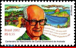 Ref. BR-2861 BRAZIL 2002 FAMOUS PEOPLE, CARLOS DRUMOND DE ANDRADE, , WHITER, RIO, MI# 3279, MNH 1V Sc# 2861 - Escritores