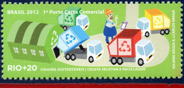Ref. BR-3218R BRAZIL 2012 ENVIRONMENT, RIO+20, UN, SELECTIVE, COLLECTION AND RECYCLING, TRUCKS, MNH 1V Sc# 3218R - Camions