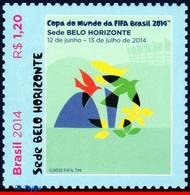 Ref. BR-3265A BRAZIL 2014 FOOTBALL SOCCER, WORLD CUP CHAMPIONSHIP,, BELO HORIZONTE BIRDS FLOWERS MNH 1V Sc# 3265A - Songbirds & Tree Dwellers