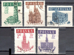 Poland 1958 - Town Halls - Mi 1046-50- Used - Used Stamps