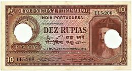Portuguese INDIA - 10 RUPIAS - 29.11.1945 - Pick 36 - Canceled With Two Holes - Afonso De Albuquerque - Otros – Asia