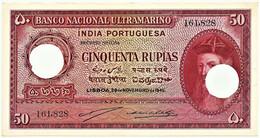 Portuguese INDIA - 50 RUPIAS - 29.11.1945 - Pick 38 - Canceled With Two Holes - Afonso De Albuquerque - Otros – Asia