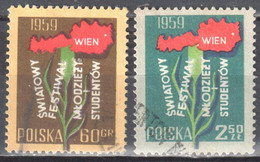 Poland 1959 - World Youth Festival, Vienna - Mi 1113-14 - Used - Used Stamps
