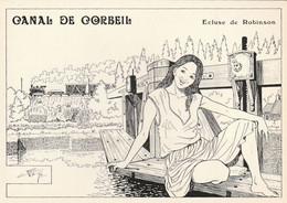 Rare Cpm Canal De Corbeil écluse Robinson Illustration De Charles Berg - Corbeil Essonnes