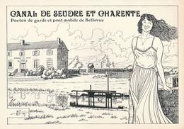 Rare Cpm Canal De Seudre Et Charente Portes De Garde Et Pont Mobile De Bellevue Dessin De Charles Berg - Andere Gemeenten