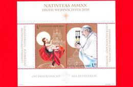 Nuovo - MNH - VATICANO - 2020 - Natale - Luce Della Pace Da Betlemme - Bambino Gesù E Papa Francesco - BF - 1.15+1.10 - Blocs & Hojas